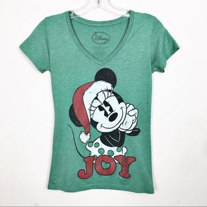 Disney Minnie Mouse Christmas V Neck Green Top